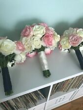 "Wedding Bouquet ""real touch"" white & pink artificial roses with Ivory satin wrap"