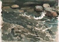 RONALD JESTY Watercolour Painting IMPRESSIONIST SEASCAPE c1990