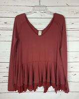 FREE PEOPLE We The Free Rust Thermal Boho Top Shirt Tee Women's XS Extra Small