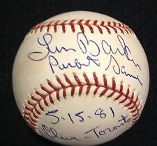 Len Barker Autograph OMLB ball Cleveland Indians Perfect Game inscription