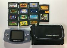Nintendo Game Boy Advance Glacier AGB-001 + 14 Games + Case - Tested & Working