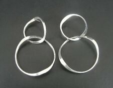 Large Long Round free moving Sterling Silver 925 Pierced Earrings