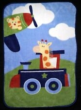 GARANIMALS Baby Boy Train Plane Plush Blanket Lovey SOFT Giraffe Tiger 30x45 EUC