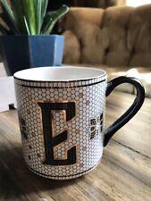 "Anthropologie TILED MARGOT MONOGRAM ""E"" 15oz Mug Cup Black Metallic Gold"