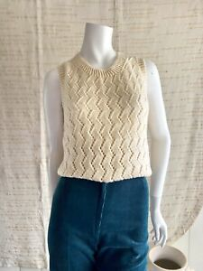 Hand Made Knitted Vest Cream Sleeveless Size 12 Knit Knitwear Pullover