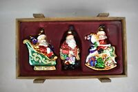Thomas Pacconi Classics Santa Christmas Ornaments Set Blown Glass Collection