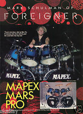 1993 Print Ad of Mapex Mars Pro Drum Kit with Mark Schulman of Foreigner