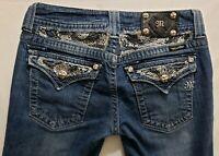 Miss Me Boot Cut Womens Denim Blue Jeans Size 28 x 29 Med Wash Low Flap Pockets
