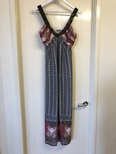 Katies Size 14 Black & White Maroon Trim Maxi Dress Sheer Lined Beaded # B52