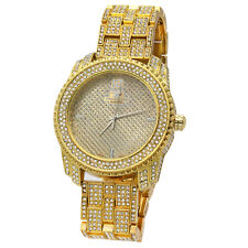 Men Hip Hop Iced out Gold Tone Techno Pave Bling Simulated Diamond Rapper Watch4