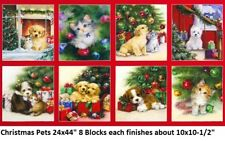 Christmas Pets Digital Holiday Panel cotton quilt fabric Kaufman Puppy Kitten