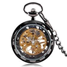 Retro Steampunk Mens Mechanical Transparent Skeleton Open Face Pocket Watch Gift