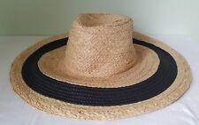 Vince Camuto brown straw wide brim beach hat adjustable fit