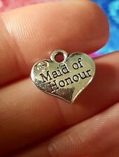 50pcs wedding heart charms silver tibetan favours maid of honour UK SELLER