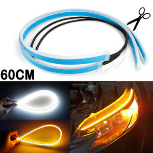 2X 60cm LED DRL Headlight Strip Lights Amber Sequential Turn Signal Flexible