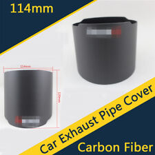 1X Carbon Fiber Car Auto Exhaust Muffler Tip End Pipe Cover 114mm Outlet Matte