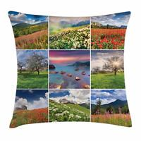 Colorful Collage Throw Pillow Cases Cushion Covers Ambesonne Home Decor 8 Sizes