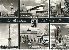 "Ansichtskarte Berlin ""Sektorengrenze, Kirche, Funkturm, Kongresshalle, u.a."" s/w"