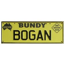 Novelty Number Plate - Bundy Bogan Black On Yellow New Series AUS Licence Plate
