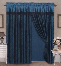 4 Pieces Satin Blue/Black Flocking Leopard Pattern Window Curtain Drape Set