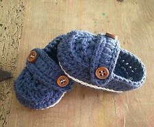 Mocasines 0/3 Meses Zapatos Alpargatas Patucos Bebe Recién Nacido Azul Marino