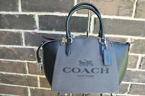 NWT $275 Coach Elise Black Leather C3970 Horse and Carriage Satchel grey