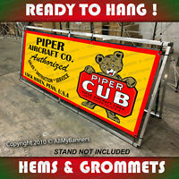 piper cub airplane aircraft horizontal sign remake old school banner art gar