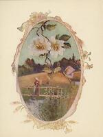 ANTIQUE FARM WOMAN BASKET CROSSING RIVER FOOT BRIDGE APPLE BLOSSOMS COLOR PRINT