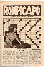 ROMPICAPO - Enigmistica - Quindicinale di giochi e passatempi - n. 18 - 1937