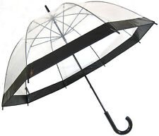 Clear Dome Birdcage Umbrella With Black Border