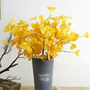 1Pc Simulation Ginkgo Leaves Artificial Flower Plant for Home Indoor Decor