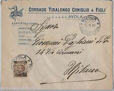 64039 - ITALIA  Regno - STORIA POSTALE:  BUSTA PUBBLICITARIA Avola SIRACUSA 1924