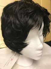 Black Synthetic Choppy Hair Wig plus Weaving Cap and Clips by Wigsbuy Med Short