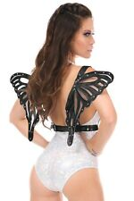 BLACK P[ATENT ANGEL WINGS BODY HARNESS CORSET COSTUME RAVE FESTIVAL DOM