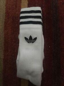 Adidas Originals 3 Pack Crew Logo Socks New in White UK size 5.5- 8