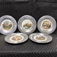 """Set of 5 """"The Great American Revolution 1776"""" Pewter Canton Ohio 10 1/2"""" PP1"""