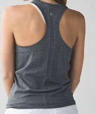 NWOT LULULEMON SWIFTLY RACERBACK BLACK/GREY STRIPES SZ 12❤️soft&flattering❤️
