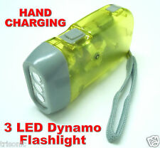 3 LED DYNAMO WIND UP HAND CHARGING CRANK YELLOW FLASHLIGHT NR TORCHLIGHT CAMPING