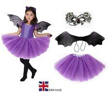 Kids BAT WINGS TUTU COSTUME Halloween Gothic Vampire Fancy Dress Outfit NEW UK