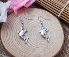 Free shipping Fashion Antique Silver Jewelry  dolphin earring