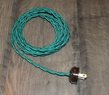 Green ~ 8' ~ Vintage Style ~ Twisted Cloth Covered Lamp Cord w/ Acorn Plug