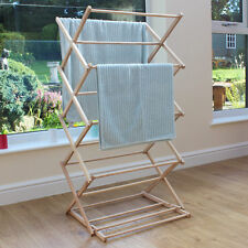 JVL Classic Vintage Traditional Beech Wooden Folding Clothes Airer Horse