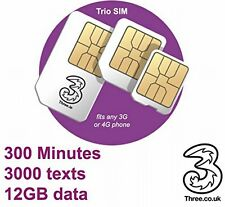 Three (3) Simcard With £20 Topup For 12GB Internet 4G