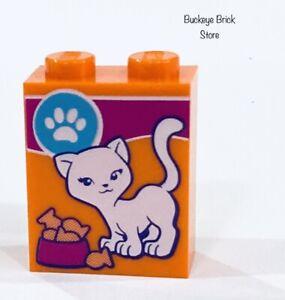 New Lego Brick Orange 1x2x2 Cat Food & Paw Print Pattern Animals