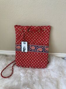 Vera Bradley Americana Backpack -Red small print with Paisley band