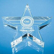 Personalised Engraved  Clear Star Glass Paperweight  - Your Name On A Star