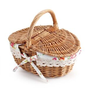 Hand Picnic Storage Basket Shopping Hamper With Lid and Handle 2 Color
