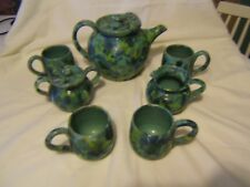 Sanford Cole pottery Teapot,jug,sugar bowl and 4 mugs signed by Kenneth Googe