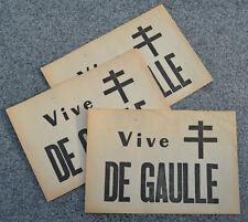 tract VIVE DE GAULLE - Croix de Lorraine - lot de 3 - Général, Président, mai 68