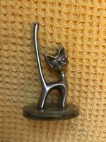Vintage 1960s Seba Silver Plated Cat Ring Jewellery Holder On Green Base